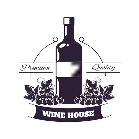 Premium wine club isolated monochrome emblem flat vector illustration on white background.