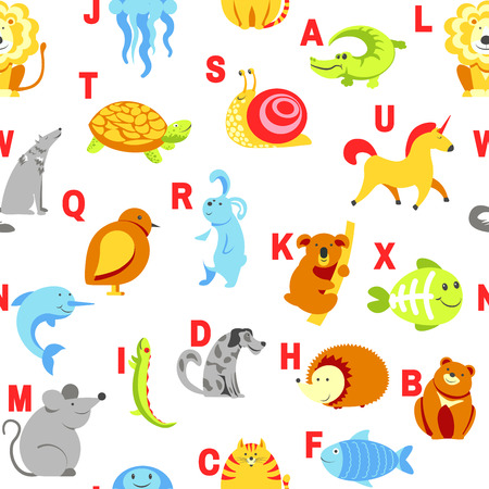 Alphabet animals and letters study material for children vector. U for unicorn, dog and hedgehog, mouse and cat, fish and turtle, snail and alligator. Seamless pattern with abc for small kids to learn