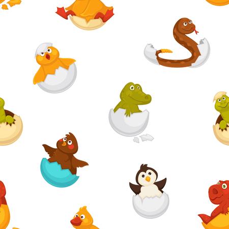 Animals born from eggs, eggshells and reptiles vector Vector Illustration