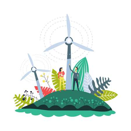 Wind energy plantations windmills and plants set vector. People on field with generators with propellers accumulating electricity. Environmental issues solving by alternative resources usage