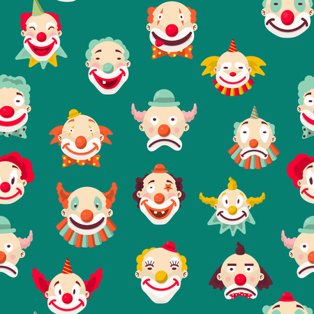 Clowns entertaining people emotions of man seamless pattern on green background. Sad and cheerful, mime with make up and strange hairstyle vector. Angry and showing tongue, kind male performer