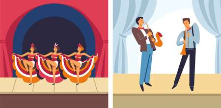 Concert female dancers and male musicians set vector. People at performance on stage entertaining people, actors and actresses wearing long dresses. Men with trumpets musical instruments playing jazz
