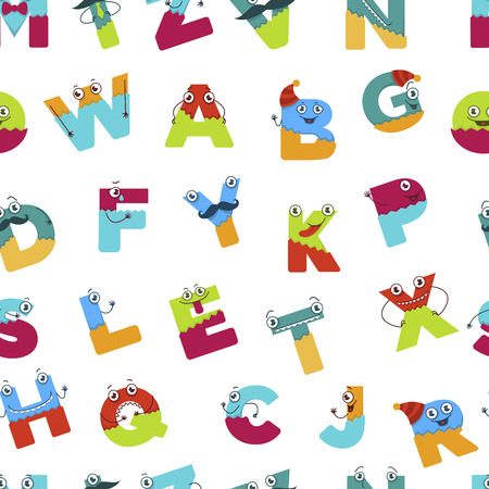Alphabet alphabetic signs for children to learn seamless pattern vector. Letters having hands and eyes, faces of abs to study and memorize quickly. Education and language studying, childish style