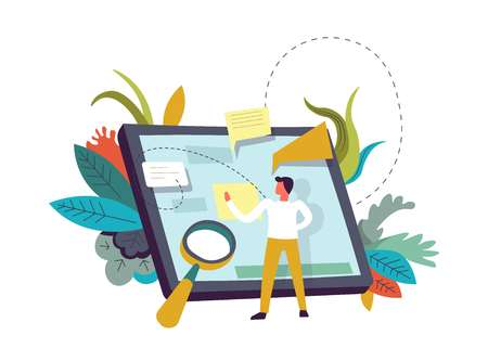 Tablet with memos, person and magnifying glass vector. Human zooming info on gadget screen, writing on sticker short note. Chatting and communication of man in internet, foliage and leaves decor