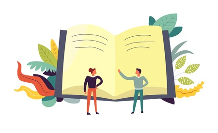 Book and people discussing topics leaves vector. Opened text of publication, male and woman with ideas about content of textbook. Discussion and educational literature, teacher explaining to female