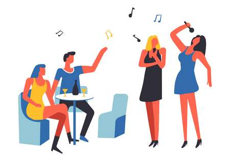 Party people drinking and singing song isolated vector. Voice club entertainment, woman standing holding microphone mic performing, notes and viewers. Spectators show performance for friends