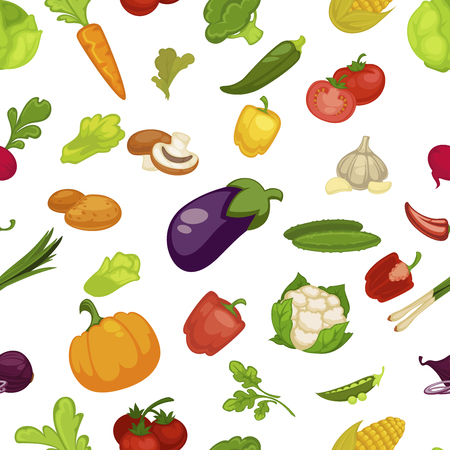 Vegetables aubergine and pumpkin set seamless pattern vector. Broccoli and cauliflower, pepper paprika and parsley greenery. Tomato and mushroom slice, chilli and carrot with leaves, onion pea