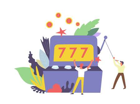 777 Gambler and machine for winning money isolated vector. Foliage and leaves of plants, people playing games in automated devices. Gambling luck and risk dependence, male happy because of lottery