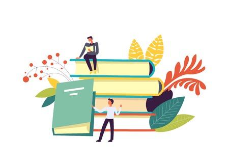 Libros y personas leyendo publicaciones, hojas y decoración de follaje vector aislado. Hombre lector con páginas y papeles en las manos, conociendo información del libro de texto. Persona sosteniendo tapa dura Ilustración de vector