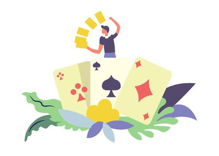 Card games gambler male with gold isolated vector. Man happy to win big sums of money, poker and lottery. Cross and spade, diamond and leaves with foliage as decorative elements, human with wealth