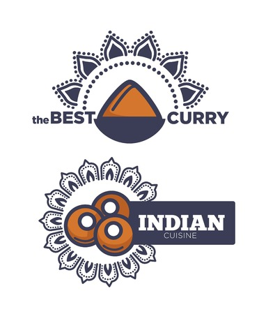 Best curry Indian cuisine poster with sauce vector. Spices and special mandala of India, cultural heritage saved in Cook traditions and food. Meal meat balls, ingredients cookery legacy of people  イラスト・ベクター素材