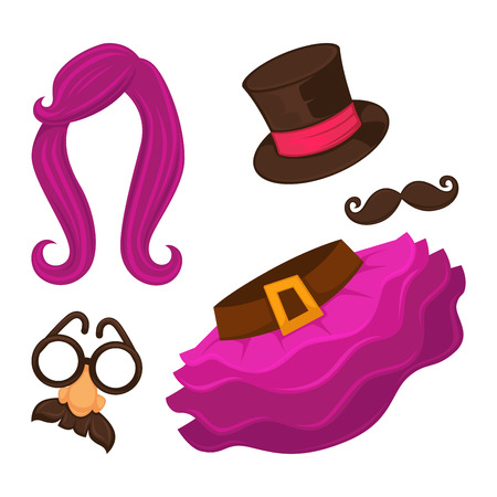 Clothes for changing appearance hat and skirt vector. Disguise element for transformation beyond all recognition, typical mask with glasses, big nose and moustaches. Wig of anime color, long hair