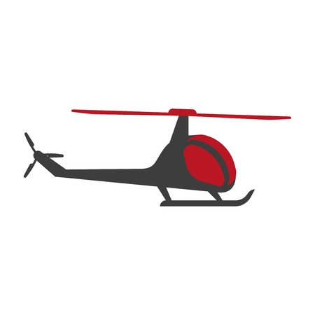 Helicopter flying aircraft transporting, chopper isolated icon vector. Vehicle with wings, high in air, aerial aviation for private flight in no time. Quick charter and traveling, aerospace airplane