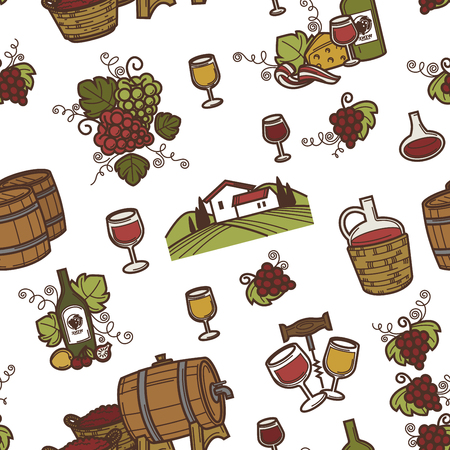 Wine and barrels with alcoholic beverage seamless pattern vector