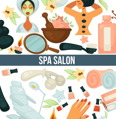 Spa salon poster with text and relaxing woman vector. Lady with clay mask on face, female with hot stones on back, massage by masseur. Oils and manicure with nail polishing gels, towels and chair Ilustração