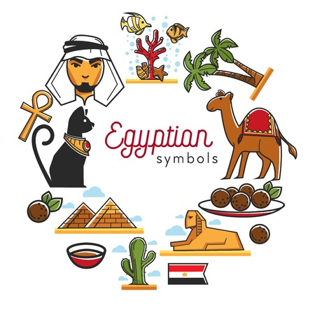 Egyptian symbols placed in circle poster text vector