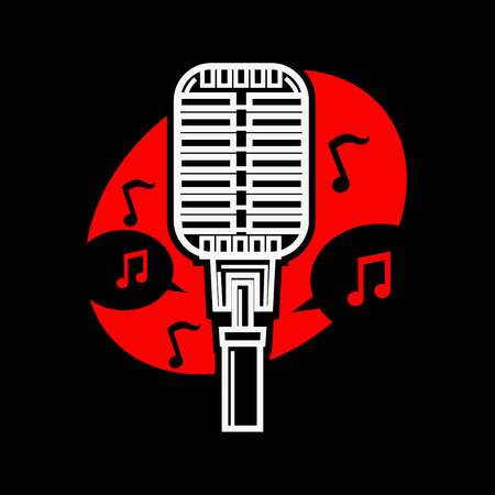Karaoke singing microphone mic with notes isolated vector. Voice club entertainment of people loving to sing song and express themselves. Art of vocals, vocalists performance old fashioned mic usage