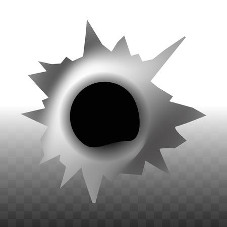 Agujero de rastro de bala en el icono de forma de pared en vector de fondo transparente. Forma redondeada a la izquierda después del disparo del arma, marca de forma circular hecha debido a la escopeta, pistola y pista de popper en la superficie Ilustración de vector