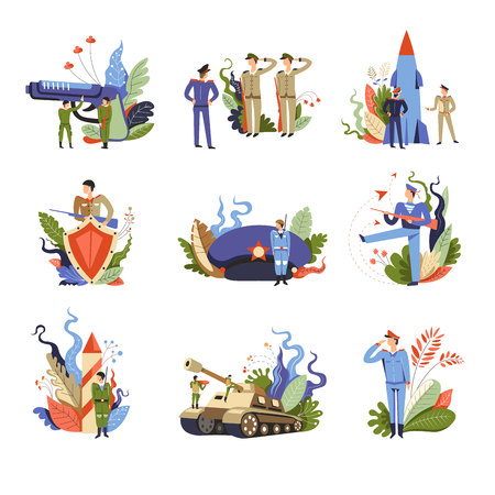 Army and military people on service isolated set vector. Person wearing uniform making orders to soldiers, man with gun and shield. Big hat with star, tank and launching rocket with foliage leaves Illustration