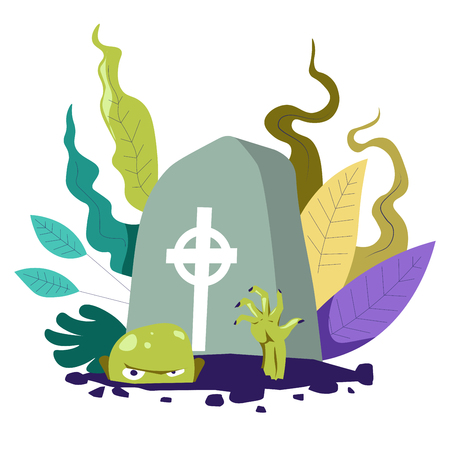 Zombie living undead creature crawling from grave vector Illustration