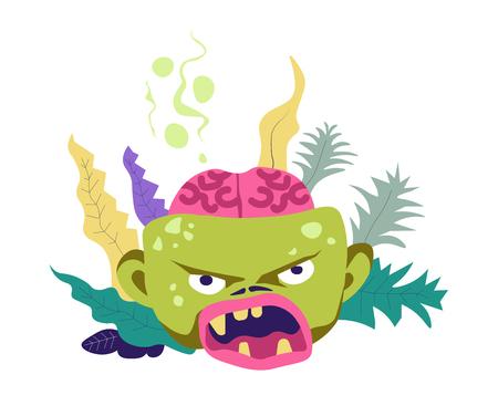 Zombie corpse with broken skull showing brain vector