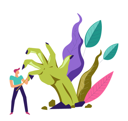 Zombie hand and person holding  ax to kill creature vector Illustration