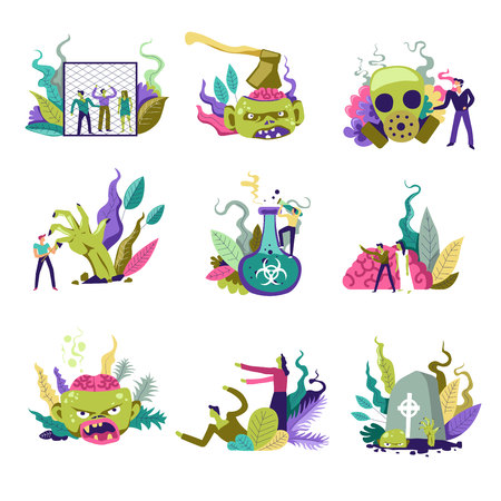 Zombie living creatures and people defending themselves vector Illustration