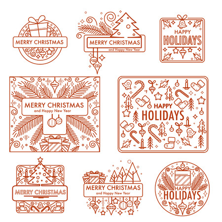 Merry Christmas monochrome sketches with gifts and symbols vector
