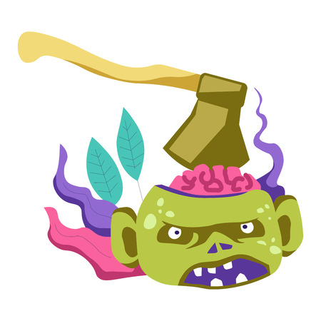 Zombie living creature with sharp ax in brain vector. Dead corpse of person with angry expression on face and instrument in head. Killing infected male, infection and apocalypse, foliage as decoration