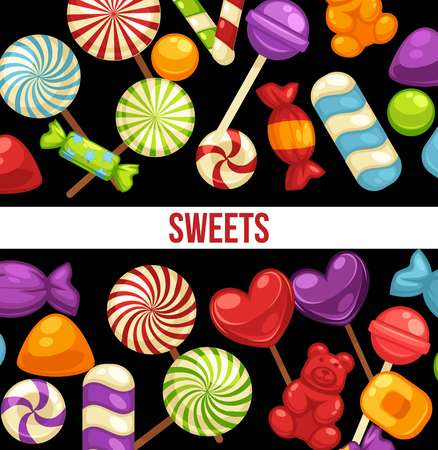 Candies and sweets poster of confectionery caramel hard candy and chocolate comfi Фото со стока