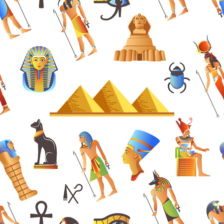 Egypt and Egyptian mythological signs seamless pattern isolated background vector. Çizim