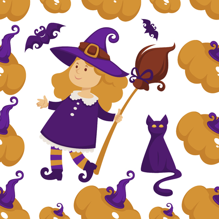 Halloween holiday symbols of autumn event seamless pattern vector. Kitty and flying bat, mysterious cat and hat with broom, part of which carnival costume. Animals and pumpkins, traditional elements Illustration