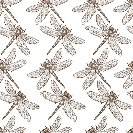 Insects that fly and creep monochrome sepia sketches seamless pattern.