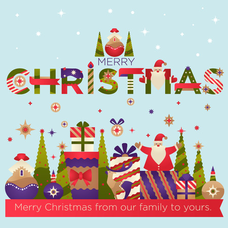 Merry Christmas from out family to yours, greeting card vector. Presents and gifts in boxes, pine evergreen tree decorated with stars. Santa Claus symbolic character, snowing weather and candles