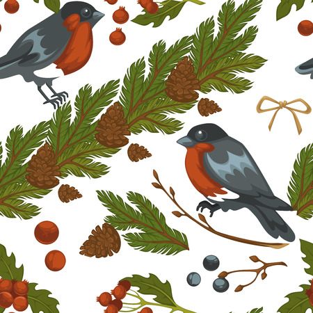 Merry Christmas bullfinch bird and mistletoe symbol seamless pattern isolated on white background vector. Traditional xmas leaves of plant and berries, animal with feathers. Birdie in winter