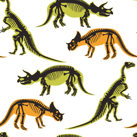 Dinosaurs and pterodactyl types of animals seamless pattern isolated on white background vector. Prehistoric monsters dino, jurassic period, reptiles tyrannosaurus ancient, triceratops diplodocus