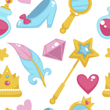 Princess with fairy elements, unicorn and magic wand seamless pattern isolated on white background vector. Illustration