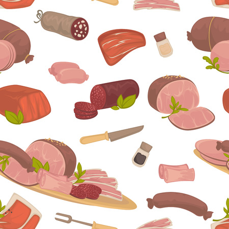 Meat food, steak and sausages with spice in glass bottles vector.