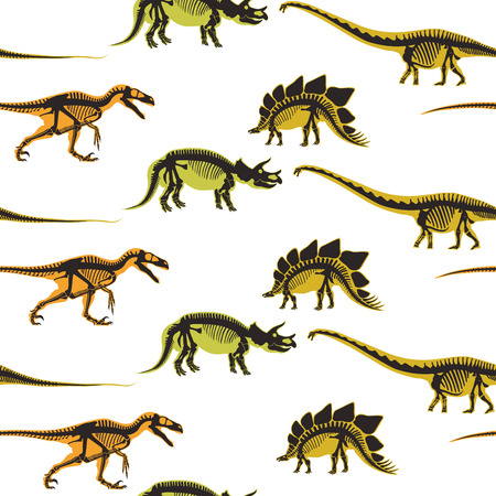 Dinosaurs and pterodactyl types of animals seamless pattern isolated on white background vector. Vectores