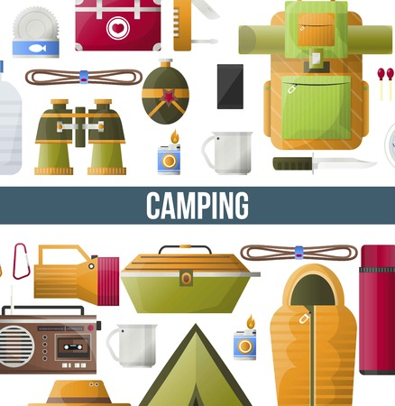 Camping adventure poster for summer camp club or scout expedition.