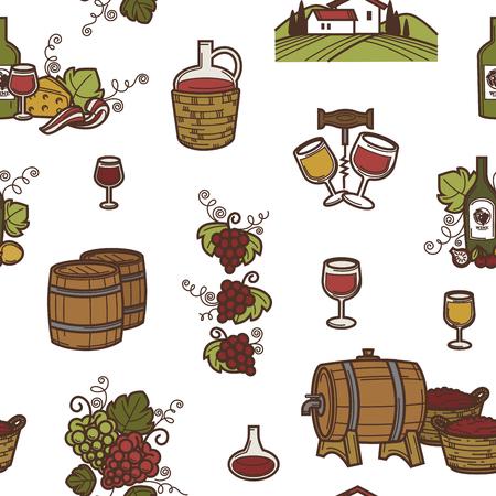 Vin et barils avec vecteur de modèle sans couture de boisson alcoolisée.