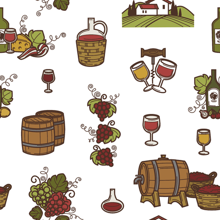 Wine and barrels with alcoholic beverage seamless pattern vector.
