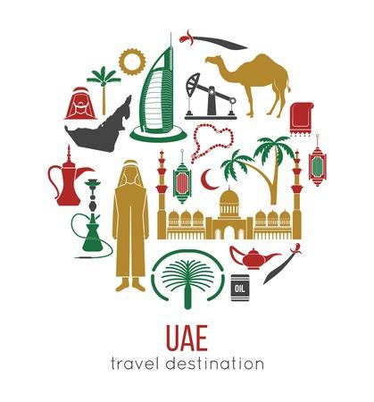 Mapa conceptual de viajes de los Emiratos Árabes Unidos. Diseño de iconos planos. Ilustración de vector
