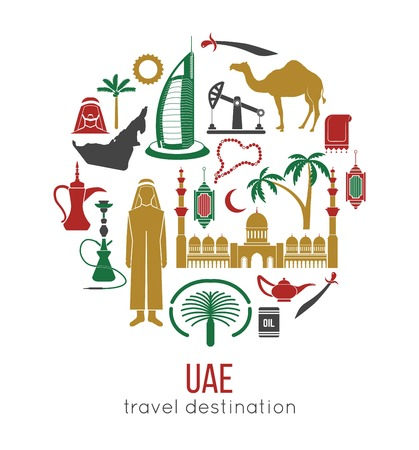 UAE travel concept map. Flat Icons Design.