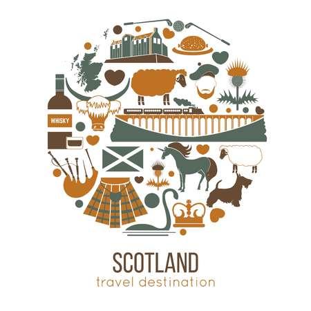 Scotland travel collection. Vector Illustration. Isolated on white Illusztráció