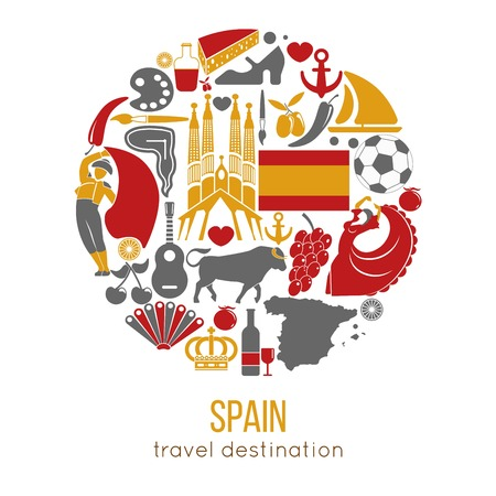 Spain travel destination promotional poster with customs vector illustrations. Delicious humbug, tasty canapy, traditional fan, yellow maracas, red bull, shoe for flamenco and authentic buildings. Stock Vector - 110894018