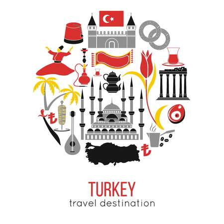Set of country Turkey culture and traditional symbols. Collection icons mosque and tower, hookah, tea, doner kebab and bagels. vector illustrations with Istanbul Turkish famous landmarks.