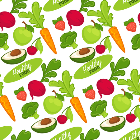Food organic and healthy fruits and vegetables seamless pattern