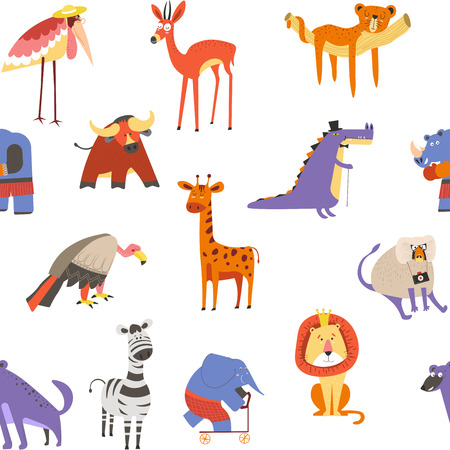 Animals seamless pattern, lion and zebra, macaque and elephant Stock Photo