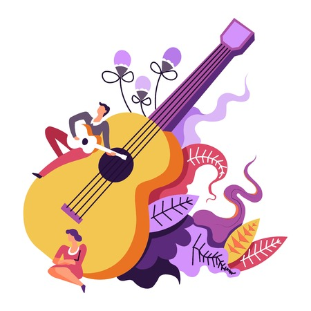 Music concert, musical performance of guitarist playing on big guitar vector. Musician and lady, people enjoying tunes and melodies. String instrument and floral decoration, leaves and foliage Çizim